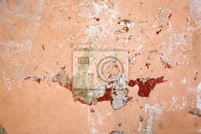 Textur der alten rustikalen Wand mit orange Stuck bedeckt