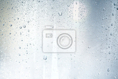 Sticker Textur eines Regentropfen auf einem Glas nassen transparenten Hintergrund