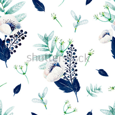 Sticker Texture consist of white anemones, blue leafs, white inflorescences and mint leafs.