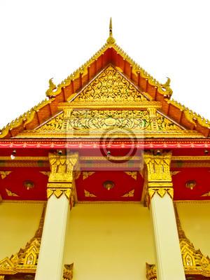 Thai-Stil Kirche auf weißem Hintergrund
