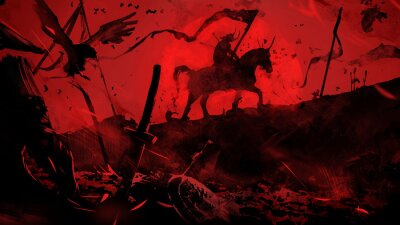 Sticker The battlefield is littered with corpses and broken weapons, the last surviving horseman is walking on it, riddled with arrows, he does not throw the banner, against the background of the bloody sun