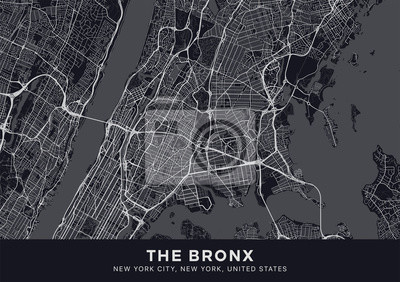 The Bronx map. Dark poster with map of The Bronx borough (New York, United States). Highly detailed map of The Bronx with water objects, roads, railways, etc. Printable poster.