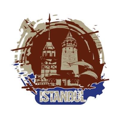 The Maiden's Tower (Kiz Kulesi) and Galata Tower. Istanbul, Turkey city design. Hand drawn illustration.