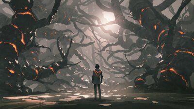 Sticker The man standing in a road full of evil trees, digital art style, illustration painting