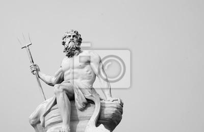 Sticker The mighty god of the sea and oceans Neptune (Poseidon) The ancient statue. Black and white image.