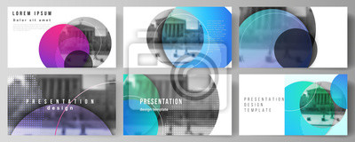 Sticker The minimalistic abstract vector illustration of the editable layout of the presentation slides design business templates. Creative modern bright background with colorful circles and round shapes.