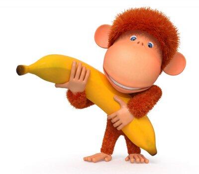 Sticker The monkey with banana