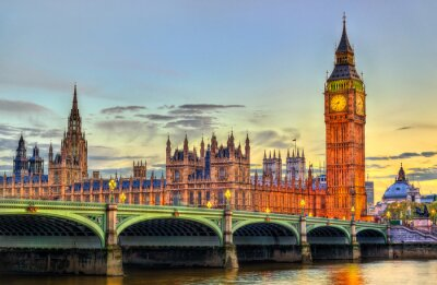 Sticker The Palace and the Bridge of Westminster in London at sunset - the United Kingdom