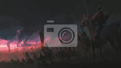 Sticker The pressure of the army, ancient war scenes, digital painting.