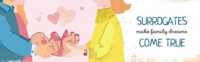 The surrogate mother gives the baby to his parents. Baner's concept of motherhood and the possibility of becoming parents for clinics and magazines about women's health. Flat cute vector illustration.