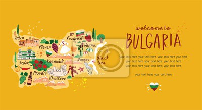 The template for a landing to travel to Bulgaria. Stylized decorative map with symbols, architecture, sights for the banner on the website for tourists. Hand darwn cartoon flat vector illustration.