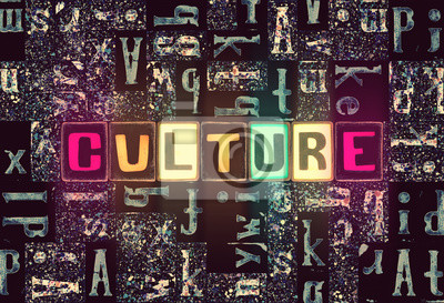 Sticker The word Culture as neon glowing unique typeset symbols, luminous letters culture