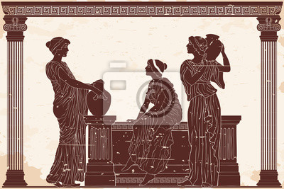 Sticker Three ancient Greek women are talking near the parapet with jugs. Antique fresco on a beige background with an aging effect.