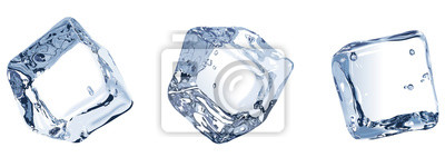 Sticker Three ice cubes isolated on white background.