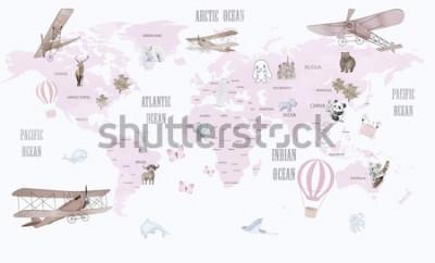 Sticker Tierweltkarte für Kinder Wallpaper Design