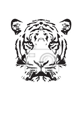 Tiger Illustration, Wall Design, Art Decor, Wall Decals, Tiger Silhouette, Art Design. Isolated on white background