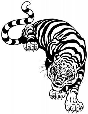 Sticker Tiger schwarz weiß