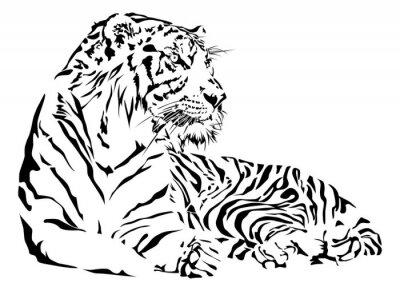 Sticker Tiger Schwarz-Weiß-