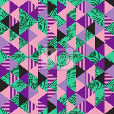 Tile of triangle pattern with palm leaves abstract