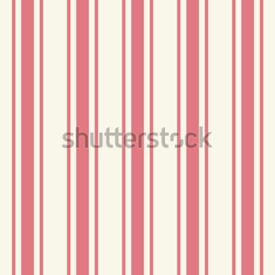 Sticker Tileable einfache dünne hellrosa Farbnadelstreifenschablone in der künstlerischen einfachen klassischen hochroten Druckart auf beige Fond. Wiederholung der modernen bunten fetten Streifen. Nahaufnahme