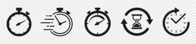 Sticker Timers icon set on transparent background. Stopwatch symbol. countdown Timer vector illustration