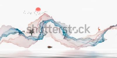 Sticker Tintenmalerei, künstlerische Landschaft, abstrakte Linien Hintergrund