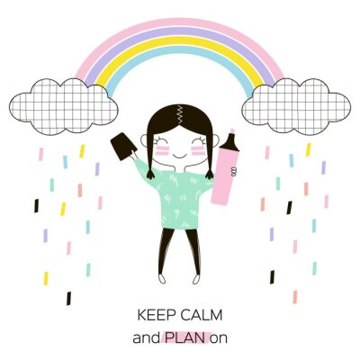 tiny cartoon funny American Indian planner girl with pink highlighter under the rainbow