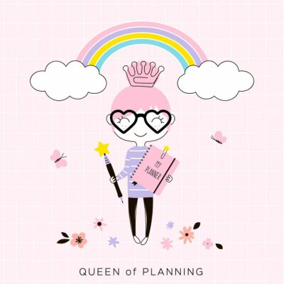 tiny cartoon happy planner girl with pink notebook and pen wearing crown shaped clip standing under the rainbow, kawaii style character, pastel colours simple flat vector graphic, cute office