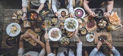 Sticker Tisch mit Essen, Ansicht von oben