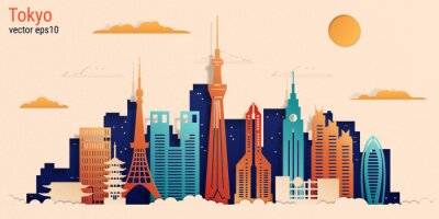 Tokyo city colorful paper cut style, vector stock illustration. Cityscape with all famous buildings. Skyline Tokyo city composition for design.