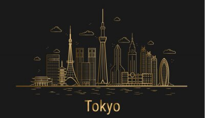 Tokyo city line art, golden architecture vector illustration, skyline city, all famous buildings.