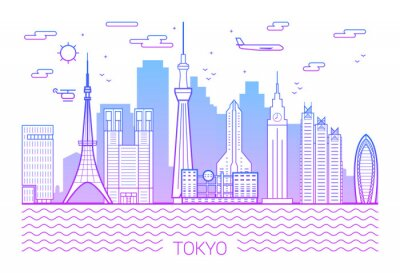 Tokyo city pink line art Vector. Illustration with all famous towers. Cityscape. White background and pink line.