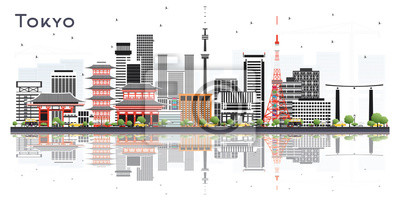 Tokyo Japan City Skyline with Color Buildings Isolated on White.