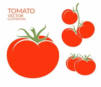 Sticker Tomate. Isoliert Gemüse auf weißem Hintergrund