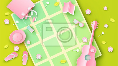 Top view of picnic in the park under cherry tree in spring time with place for text space. Graphic design for spring. paper cut and craft style. vector, illustration.