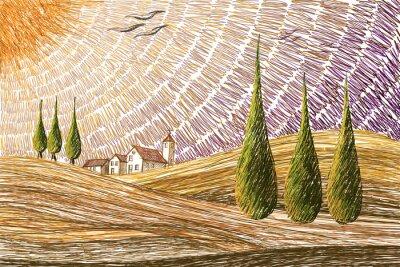 Sticker Toskana Landschaft - digitale Malerei Konzept