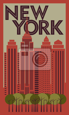 Tourist poster New York. Retro graphics. Vector drawing
