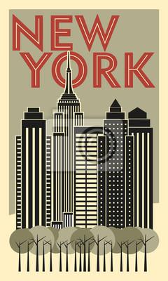 Tourist poster New York. Retro postcard. Vector drawing