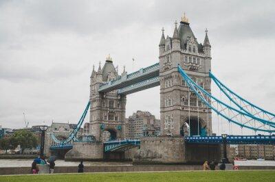Tower Bridge in London, Gray rainy day. Great Britain, UK