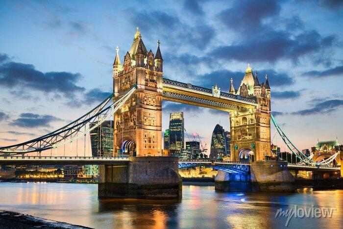 Sticker Tower Bridge in London, UK in der Nacht