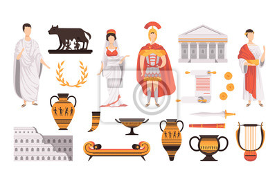 Sticker Traditional cultural symbols of ancient Rome set vector Illustrations on a white background