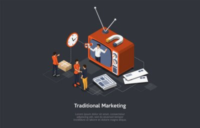 Sticker Traditional Marketing. Internet Strategies And Development, Social Media, Business Goal. Marketers Analyze Data, Develop Traditional Product Promotion Strategies. Isometric Vector Illustration