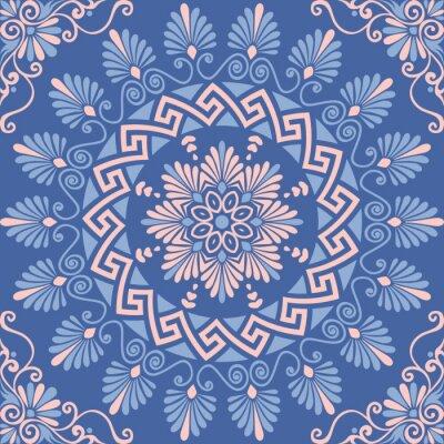 Sticker Traditionelle nahtlose Vintage rosa, weiße und blaue runde florale griechische Ornament, Meander
