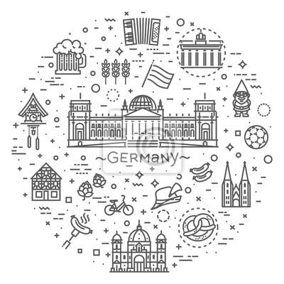 Traditionelle Symbole der Kultur, Architektur und Küche Deutschlands