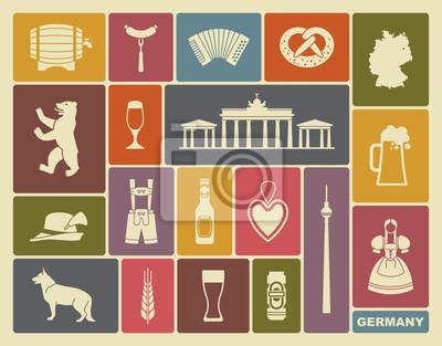 Traditionelle Symbole der Kultur, Architektur und Küche von Deutschland