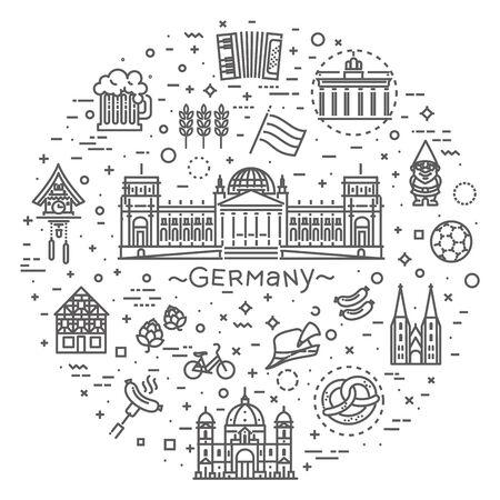 Traditionelle Symbole für Kultur, Architektur und Küche Deutschlands