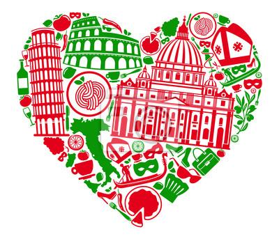 Traditionelle Symbole von Italien in Form von Herzen