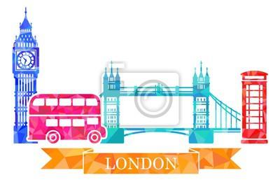 Traditionelle Symbole von London im polygonalen Stil. Big Ben, Turmbrücke, Doppeldecker, rote Telefonzelle