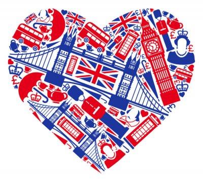 Traditionelle Symbole von London und England in Form von Herzen