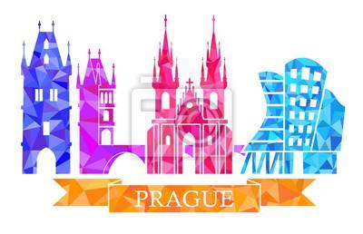 Traditionelle Symbole von Prag, im polygonalen Stil. Powder Tower, Karlsbrücke, Tyn Kirche, Prag Tanzhaus